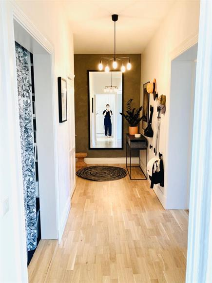 Entrance and hallway with two walk-in closets for storage.