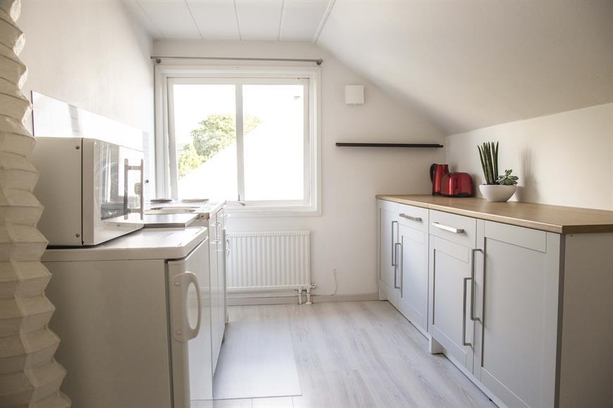 Lust fint rum med pentry, kyl, micro samt köksskåp