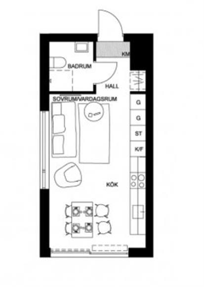 Lägenhetens planlösning.