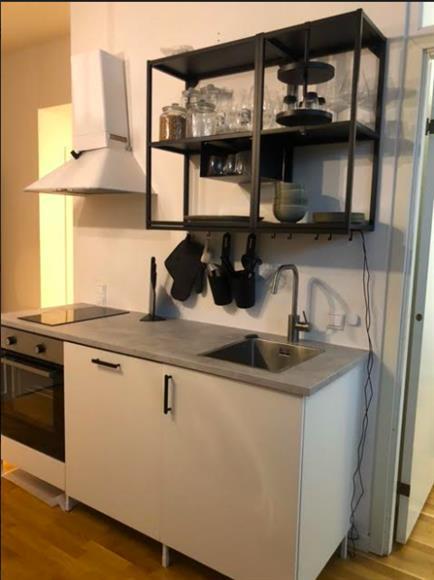 Köksdelen med diskmaskin, spis och ugn