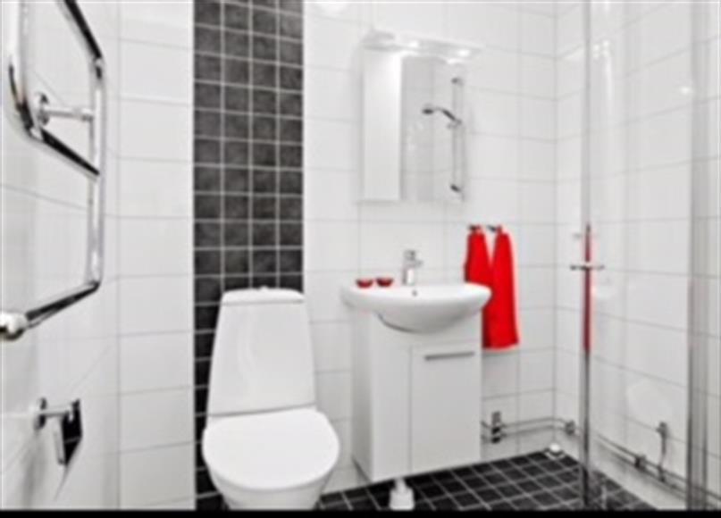 Nybyggt badrum med tvätt maskin. (bild från internet)