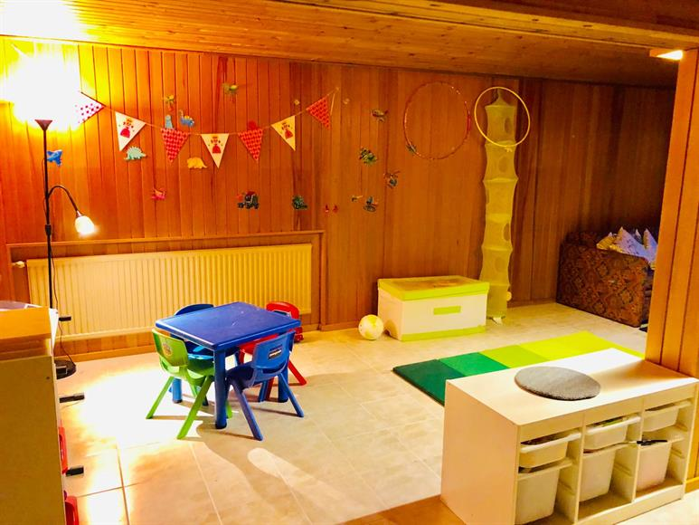 Large Living Room/PlayRoom/Game or TV Room - Lower Floor. Good for young kids for various activities . Solid flooring