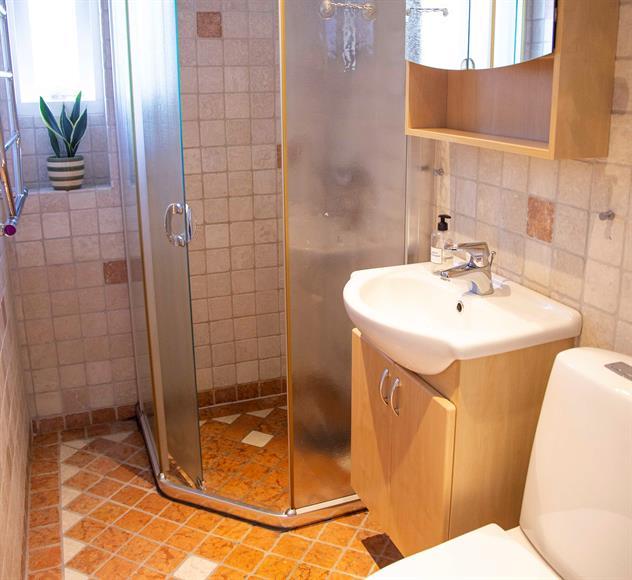 Helkaklat fräscht badrum med dusch