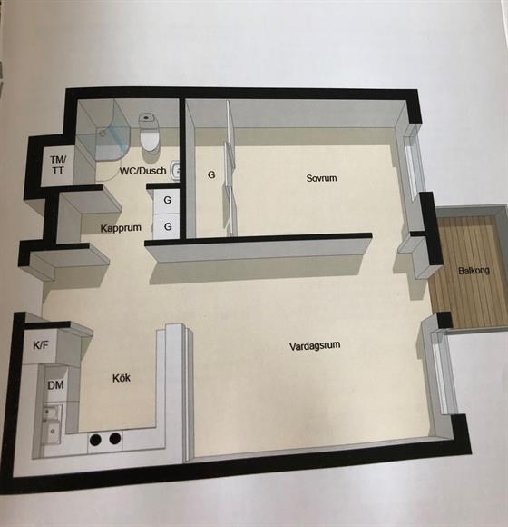 Optimalt planerad lägenhet med öppen planlösning