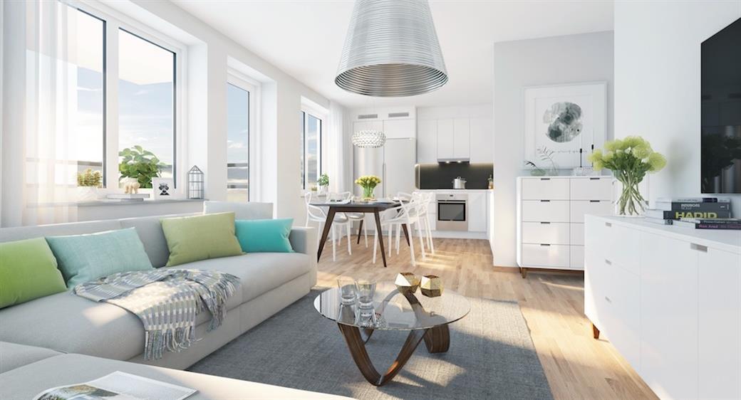 Vardagsrum+matplats+kök, modern inredning, lägenhet saknar möbler (bild från internet) En av de få bostäder i Sverige med service koncept, Vicktoria park, har en service koncept där pool, bio, gym mm ingår i boendet.