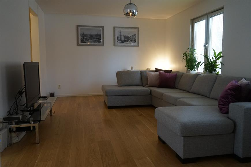 Light and open living room with large sofa, side tables, TV and wifi.  Recently fitted wood flooring throughout the whole apartment.