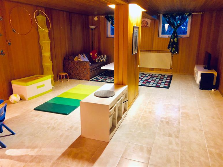 Large Living Room/PlayRoom/Game or TV Room - Lower Floor. Good for young kids for various activities . Solid flooring - Lower floor