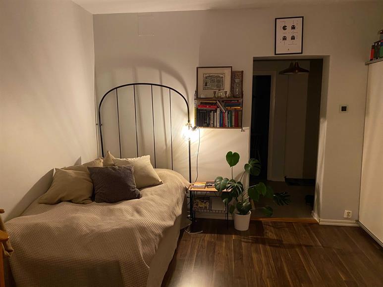 Sovrum/allrum med en stor garderob till höger