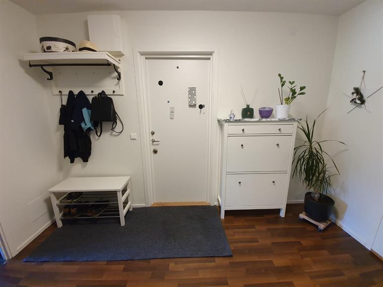 Ytterdörren är en säkerhetsdörr som är välisolerad.