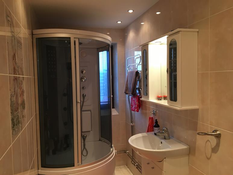 Bathroom and shower with hydro massage unit.