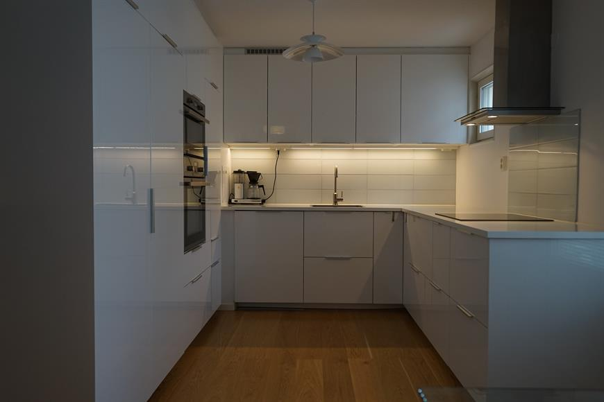 Recently renovated fully fitted kitchen with integrated oven, microwave, dishwasher, fridge, freezer and electric hob.